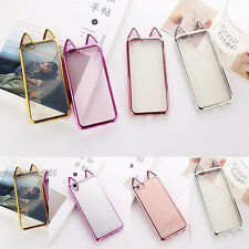 Ultra Thin Clear Cat Ear Girl TPU Soft Phone Case Cover For iPhone 5 6 7 Plus