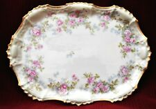 Limoges Long Oval Dish with Gold TrimOpened Handles- Signed by Artist