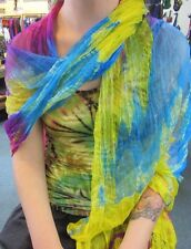 Silky Colourful Rainbow Indian Thin Scarf Wrap With Beads Tie Dye Yellow Tonings