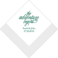 300 The Adventure Begins Personalized Printed Wedding Cocktail Napkins