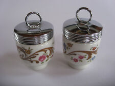 2 Royal Worcester England Porcelain Single Egg Coddler Jar Flowers