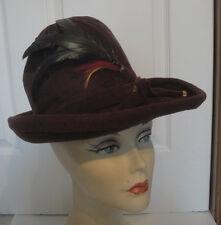 Vintage Brown Velveteen High Crown Feather Trimmed Hat