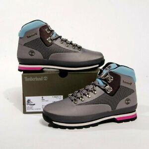 Timberland Euro Hiker Boots Outdoor Hiking A2274 A3949 Men's 9 Gray/Pink/Blue