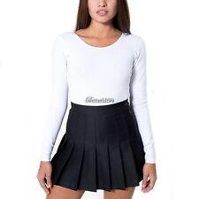 New Women Cute Thin High Waist Plain Skater Flared Pleated Short Mini Skirt RE13