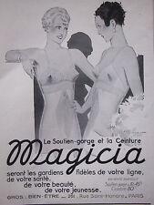 PUBLICITÉ 1935 MAGICIA LE SOUTIEN-GORGE ET LA CEINTURE - ADVERTISING