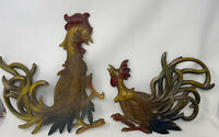 Mid Century Fighting Cocks Roosters Chickens Wall Hangings Decor Vtg syroco