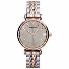 NEW EMPORIO ARMANI TWO TONE GIANNI T-BAR STAINLESS STEEL LADIES WATCH AR1840