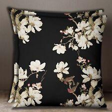 Floral & Bird Print Black Square 2 Pcs Cotton Poplin Decorative Cushion Cover