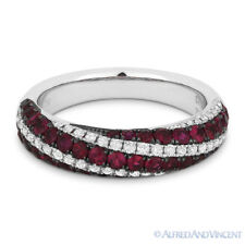 1.42ct Ruby & Diamond Pave Anniversary Ring Wedding Band in 18k White Black Gold
