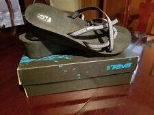 9745490a4260c TEVA Women s Size 12W Black Strappy Thong Platform Sandals Mush Mandalyn  Wedge