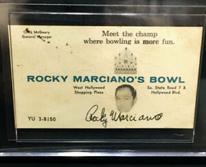 1960s ROCKY MARCIANO AUTOGRAPHED BUSINESS CARD - FLORIDA BOWLING ALLEY - JSA LOA