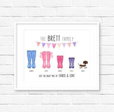 A4 Family Wellies Print! Personalised Family print! Welly Boot Print!