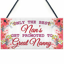 Red Ocean Best Nans Promoted to Great Nanny Pregnancy Gift Hanging Plaque Baby Sign