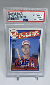1985 Mark McGwire Rookie Card Signed Autograph PSA A's Cardinals On Card