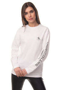 CALVIN KLEIN JEANS T-Shirt Top Size M Printed Logos Long Sleeve Crew Neck
