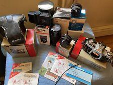 Vintage Canon AE-1 SLR 35mm Camera Film Lot Original Boxes Vivitar Zoom Lens EUC