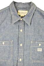 MENS L Ralph Lauren Denim Jean Work Chore Shirt Button Up Denim Supply RRL Blue