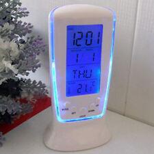 LED Digital Wecker Alarm Tischuhr Reisewecker mit Kalender Thermometer Blau Mode