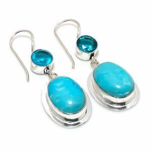 """Larimar, Blue Topaz Gemstone 925 Sterling Silver Jewelry Earring 1.97 """" D122"""
