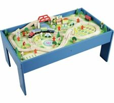 NEW Chad Valley Wooden Table and 90 Piece Train Presented On A Sturdy Wooden Set