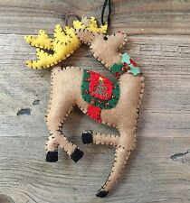 Felt Stitched Reindeer Decoration Gisela Graham Christmas Tree Holly Bead Detail