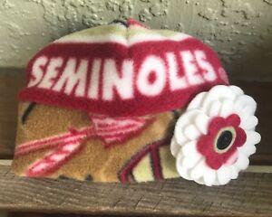 Florida State University fleece Flower Hat FSU Seminoles Sizes Newborn To Adults