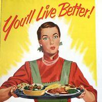 1950s GENERAL ELECTRIC FOOD FREEZER advertising brochure G.E. MODEL NA-11 Retro!