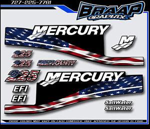 Mercury 225 Saltwater American Flag Boat Graphics Decals Sticker