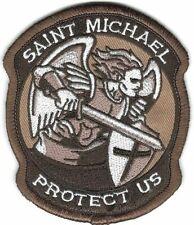 Dark Brown St. Saint Michael Protect Us Morale Patch VELCRO BRAND Hook Fastener