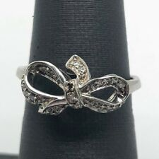 Elegant Sterling Silver 925 CZ Pave Knotted Swirl Loop Bow Ribbon Cocktail Ring