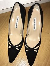 MANOLO BLAHNIK ITALY BLACK SUEDE HIGH HEEL SHOES SZ US 8B 38 EXCELLENT