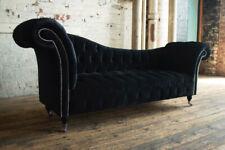 HANDMADE LUXURY BLACK VELVET FABRIC CHESTERFIELD CHAISE LONGUE SOFA COUCH