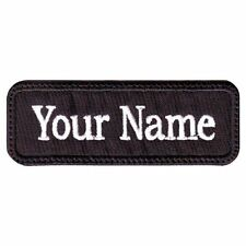 "RECTANGULAR CUSTOM EMBROIDERED NAME TAG HOOK FASTENER PATCH 4 X 1"" (V)"