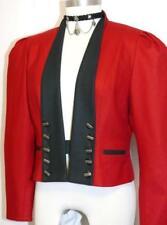RED ~ WOOL Women German Winter Dress Suit Skirt Pants Dirndl JACKET Coat / 4 XS