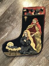 "Vintage Tapestry Christmas Stocking Nativity Scene Jesus Mary Joseph 14"""