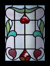 Art Nouveau Antique English Floral Stained Glass Window
