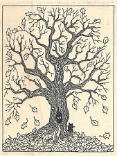 Fall Tree Wood Mounted Rubber Stamp IMPRESSION OBSESSION Autumn Black Cat Leaves