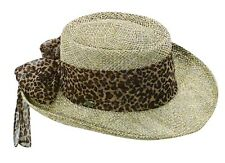 SCALA SALE ** NEW WOMEN BROWN GAMBLER HAT ** LADIES SUN STRAW BEACH ANIMAL PRINT