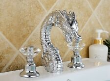 widespread bathroom dragon lavatory sink Faucet tap Crystal handles chrome New