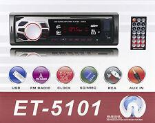 STEREO AUTO 1DIN 60WX4 RCA AUTORADIO FM RADIO MP3 USB MICRO SD AUX ET-5101
