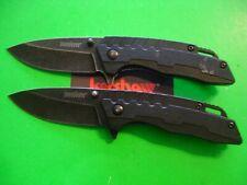 "NTSA LOT OF 2 KERSHAW 4"" CLOSED ""BLACK WASH"" FRAME LOCK PKT KNIVES # 1336WM"