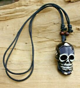 Skull Brown Bone Effect Pendant & Adjustable Beaded Cotton Cord Necklace 84cm
