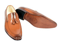 Men Real Leather Handmade Formal Dress causal Loafers  Shoes With Leather Sole