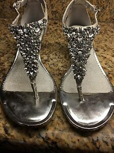 NIB Alex Marie Jeweled Lace Silver Wedges 9.5
