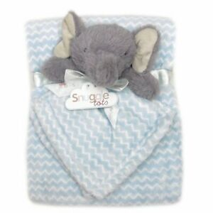 Baby Elephant with Blue & White Comforter & Blanket.