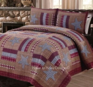 BARNWOOD STAR 3pc Full / Queen QUILT SET : FARMHOUSE COUNTRY BROWN CABIN PLAID