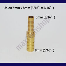 3/16 to 5/16 (5mm X 8mm) Union Hose Barb Brass Fitting Splicer Gas Fuel Reducer