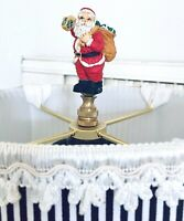Christmas Lamp Finial Santa with a Sack of Presents Holding a Lanter Lamp Topper