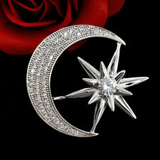 Victorian Vintage Silver Hardware and Micro Pave CZ Crescent Moon Star Brooches