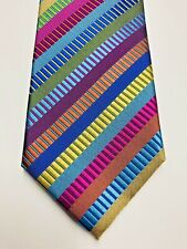 AUSTIN REED Mens Multi Coloured Striped 100% Silk Tie Brand New
